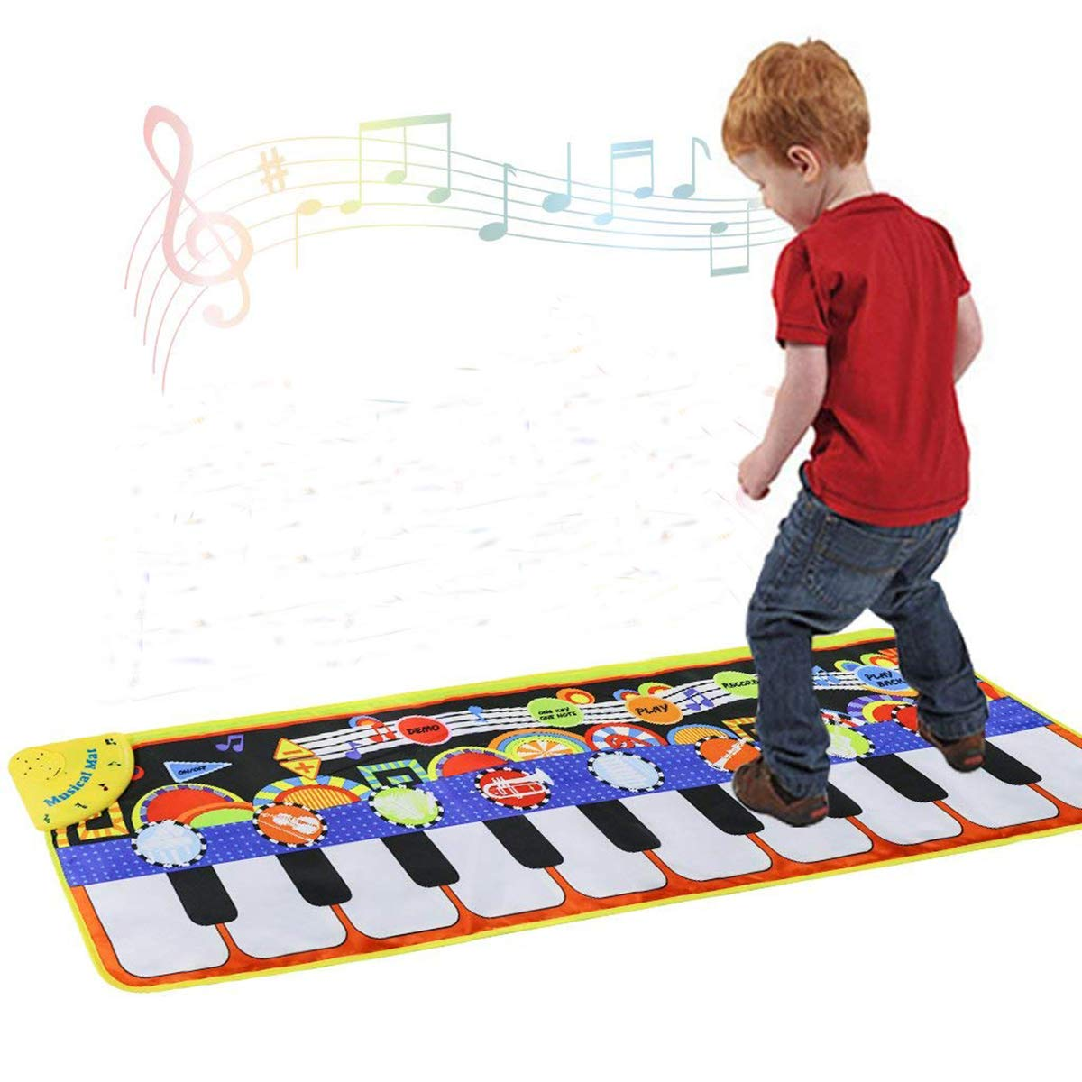Cyiecw Piano Music Mat, Keyboard Play Mat Music Dance Mat with 19 Keys Piano Mat, 8 Selectable Musical Instruments Build-in Speaker & Recording Function for Kids Toddler Girls Boys, 43.3'' x14.2''