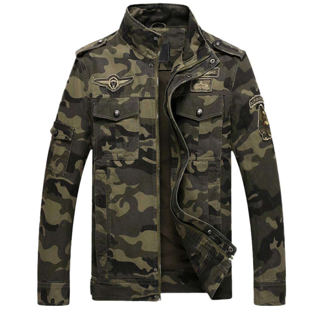 Men's Winter Coat Sale Casual Long Sleeve Camouflage Zipper Cotton Tooling Jacket by Dacawin