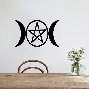 etiqueta de la pared pegatina de pared frases Pegatina pequeña Triple luna Diosa Wicca Pentáculo Dibujos animados Pegatinas Belleza: Amazon.es: Bricolaje y herramientas