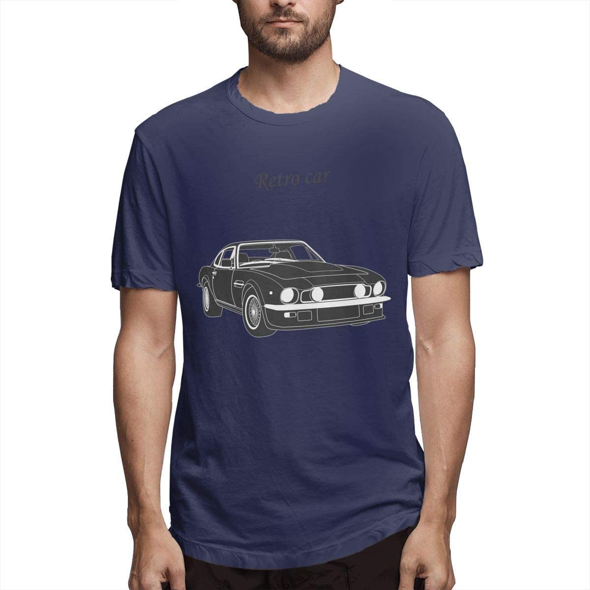 Hombres Personalizados cómodo Coche de época. Coche Retro. Coche clásico. Camisetas Divertidas de Manga Corta Azul Marino L: Amazon.es: Ropa y accesorios