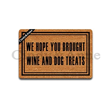 Cindy&Anne We Hope You Brought Wine Dog Treats Doormats in Here Entrance Floor Mat Funny Doormat Home and Office Decorative Indoor/Outdoor/Kitchen Mat Non-Slip Rubber 23.6 x15.7