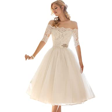 dressvip Off Shoulder Half Sleeves White Lace Tulle Ball Gown Prom Dress Below Knee Length (