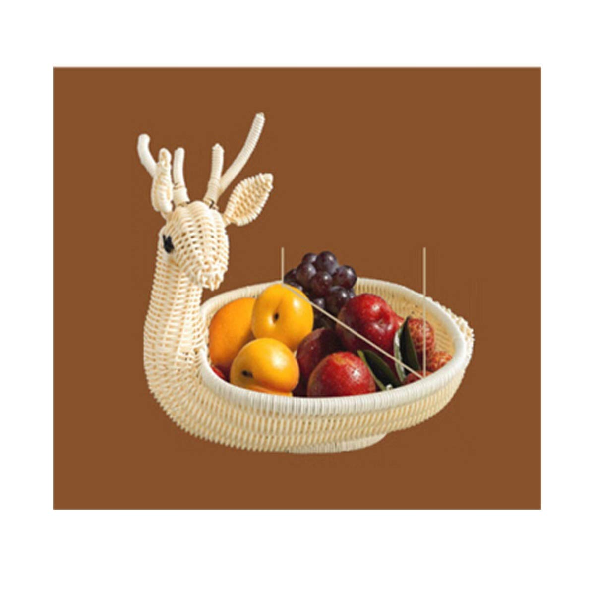 QINRUIKUANGSHAN Cute Storage Box, Candy Tray, Fruit Basket, Home Modern Living Room Bread Basket, Rattan Plastic Basket Bread Basket, (Color : B) by QINRUIKUANGSHAN
