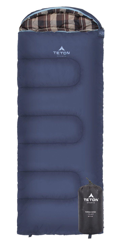 Teton Sports Celsius Junior para niños -7 C/+ 20 F Saco de Dormir; Libre Bolsa de Incluido, Blue/Stripe Liner: Amazon.es: Deportes y aire libre