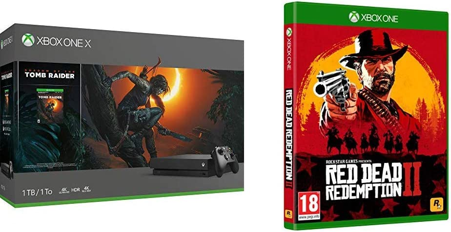 Microsoft Xbox One X-Consola 1 TB + Shadow Of The Tomb Raider + Red Dead Redemption 2 (Xbox One): Amazon.es: Videojuegos