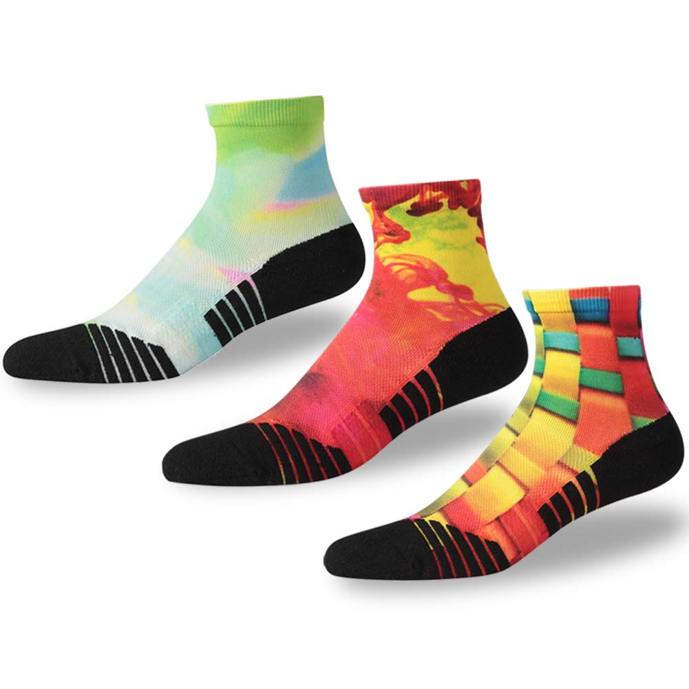 NIcool Seamless Running Socks, Women's Youth Comfortable Fun Pattern Athletic Sports Football Anti-Blister Ankle Socks, Gifts for Runners, 3 Pairs, Multicolor by NIcool