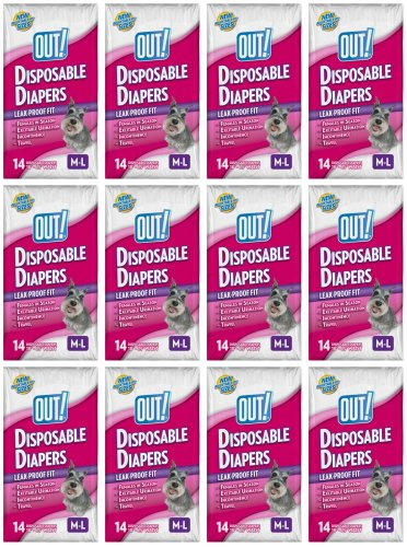OUT! M-L Disposable Diapers 168ct (12 x 14ct) by OUT!
