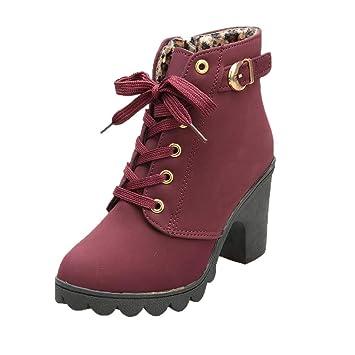 76ebe1b4823 Amazon.com: ❤ Mealeaf ❤ Womens Fashion High Heel Lace Up Ankle ...
