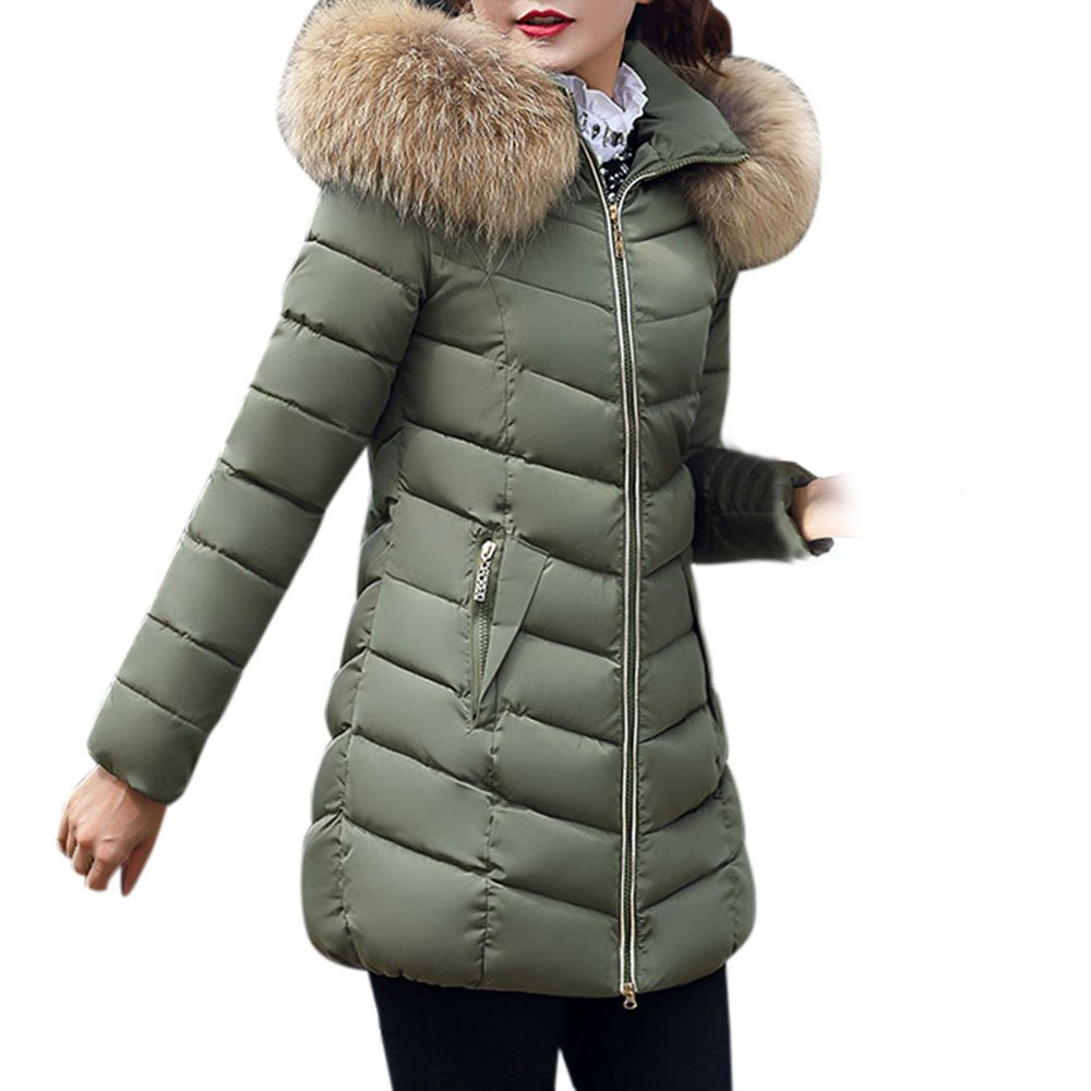 Qisc Women's Thicken Down Jacket Winter Slim Coat Overcoat with Removable Faux Fur Trim Hood by (S, Army Green) by Qisc (Image #1)
