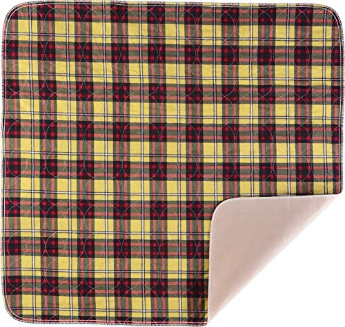 NOVA Plaid Design Waterproof Reusable Underpad with 100% Cotton Skin Soft Top Layer, Washable Incontinence Bed & Surface Overlay, Super Absorbent, 32