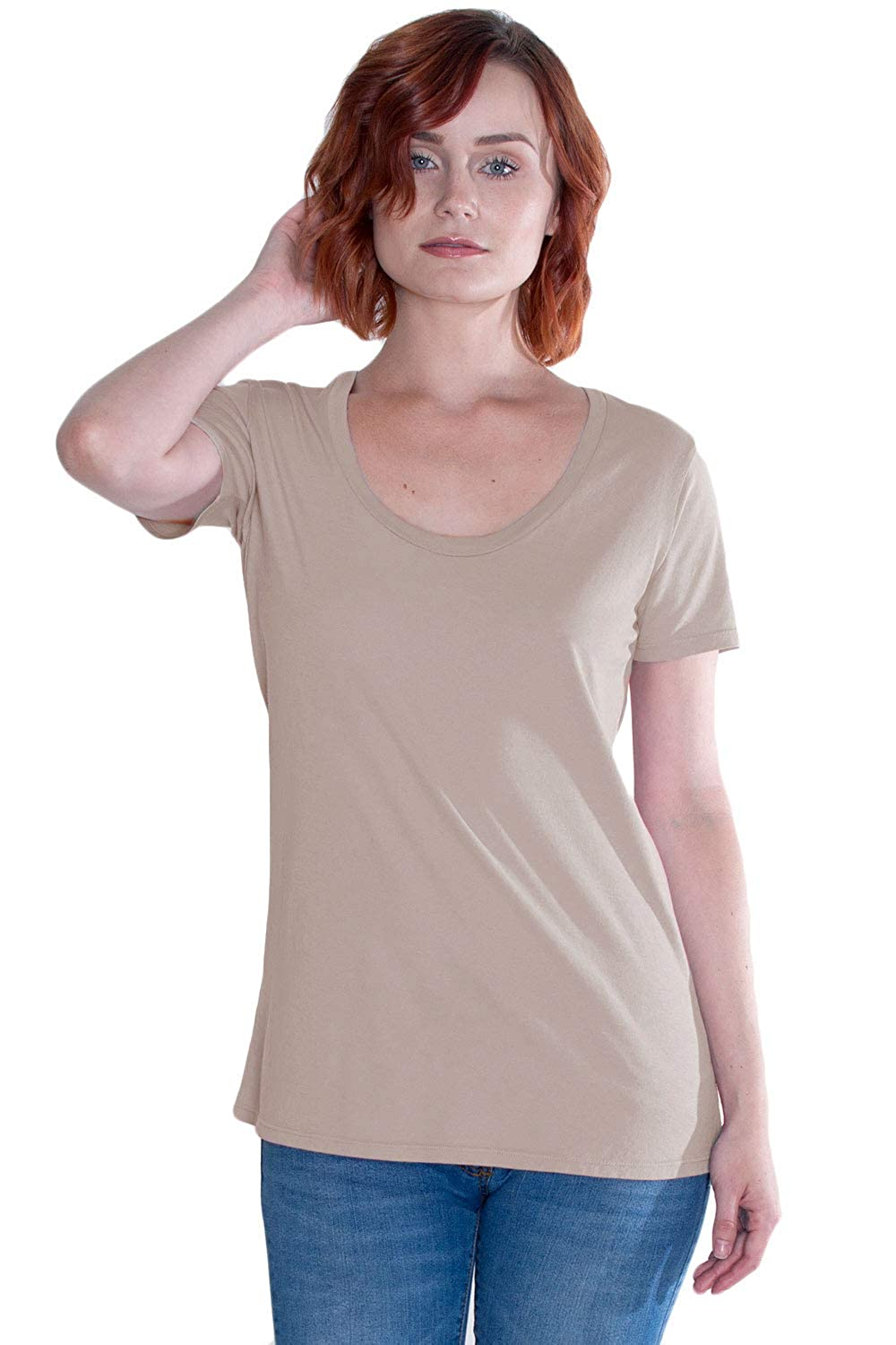 54ab21cb4c4 Organic Cotton Scoop Neck Tee, Non-GMO, Eco Friendly, Made in The USA at  Amazon Women's Clothing store: