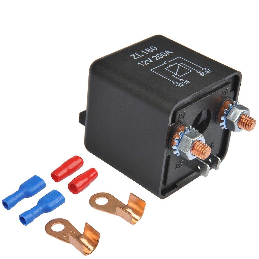 OFNMY Relais Batterie Trennrelais 12V/200A Spitzenlast Batterietrennrelais fü r Auto PKW Wohnwagen