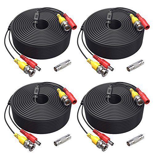 ANNKE (4) 150 Feet Video Power Cable For Security Camera System, All-in-One BNC Video and Power CCTV Security Camera Cable with Two Female Connectors (4-Pack)