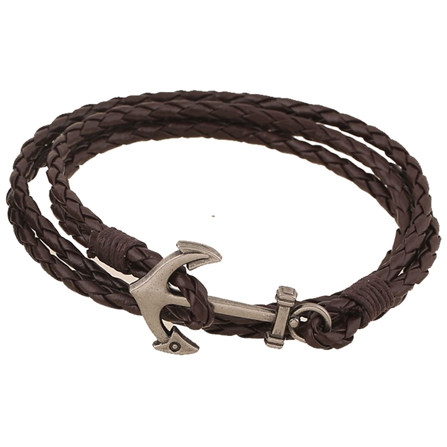 Kebaner Nautical Anchor Charm Multi-Strands Braided Wrap Cuff Bracelet Hip Hop Jewelry For Men Women