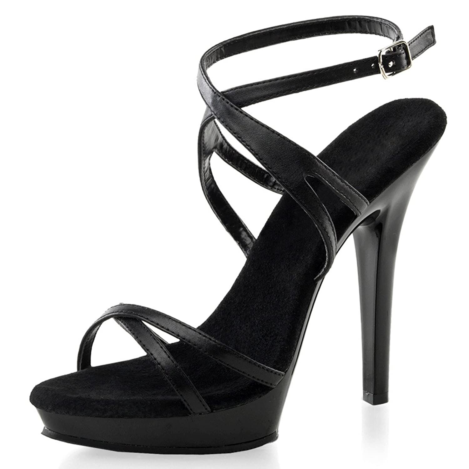 Amazon.com | Sexy Black Strappy Sandals with Soft Black Leather ...