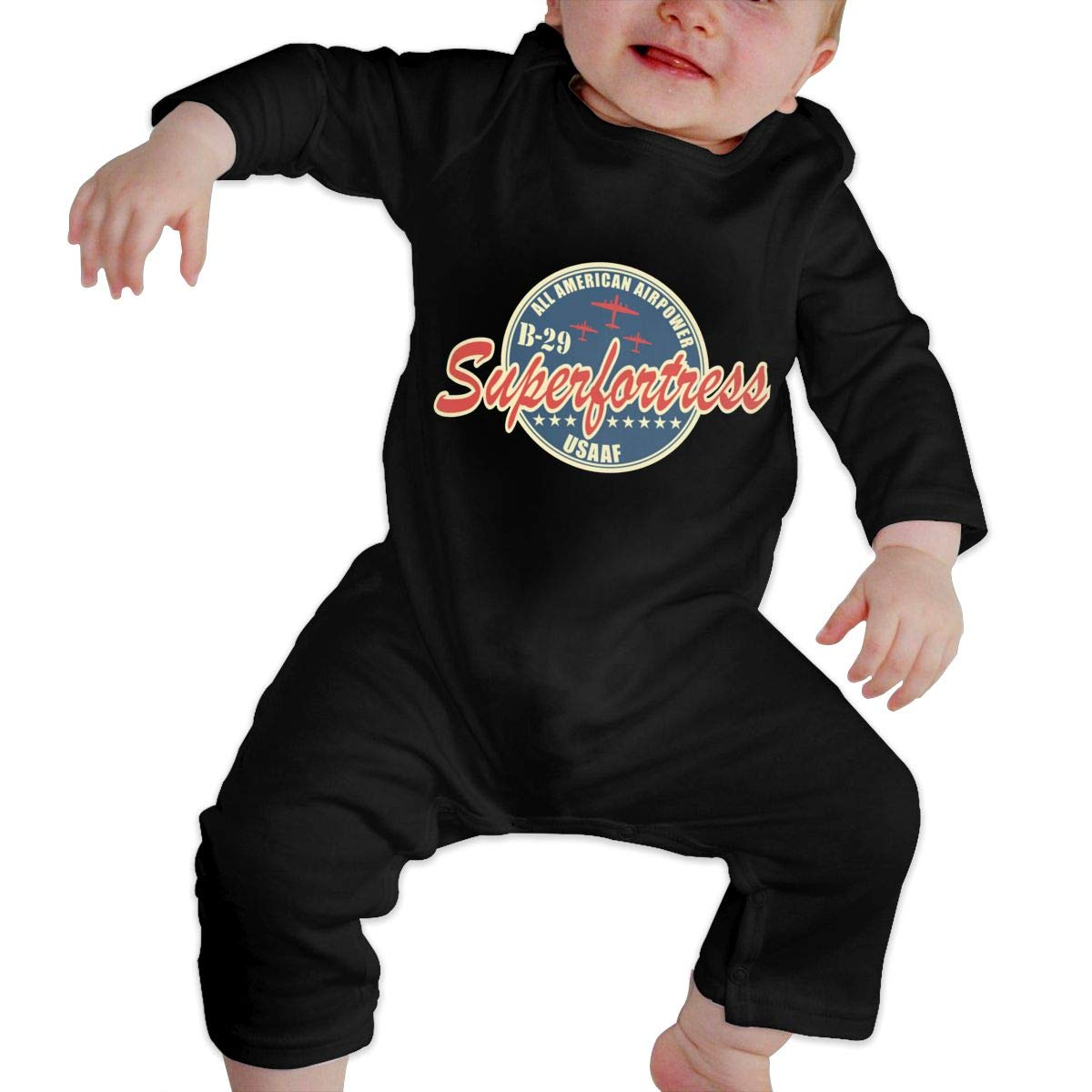 Gsaa WW2 Air Force Bomber Airplane Baby Long Sleeve Bodysuit Cotton Romper