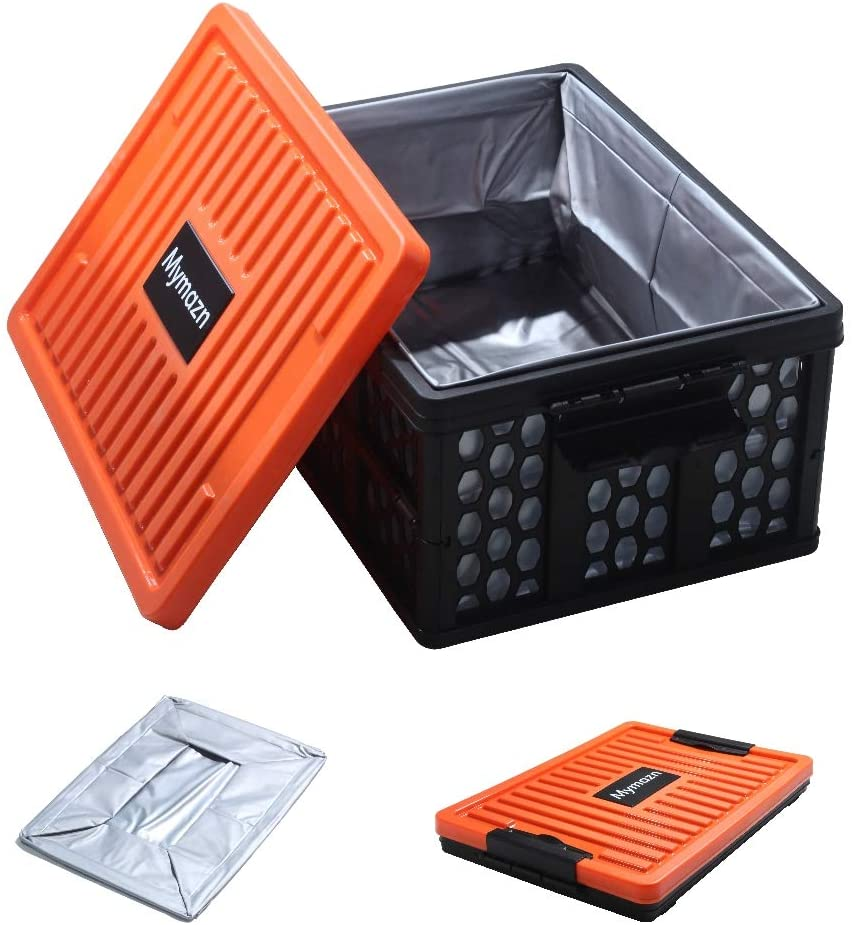 Mymazn Trunk Organizer Plastic for Car, Crate Storage Collapsible Car Organizer for SUV, Groceries, Camping | with Lid, Waterproof Bag, Optional Insulated Cooler(Orange)