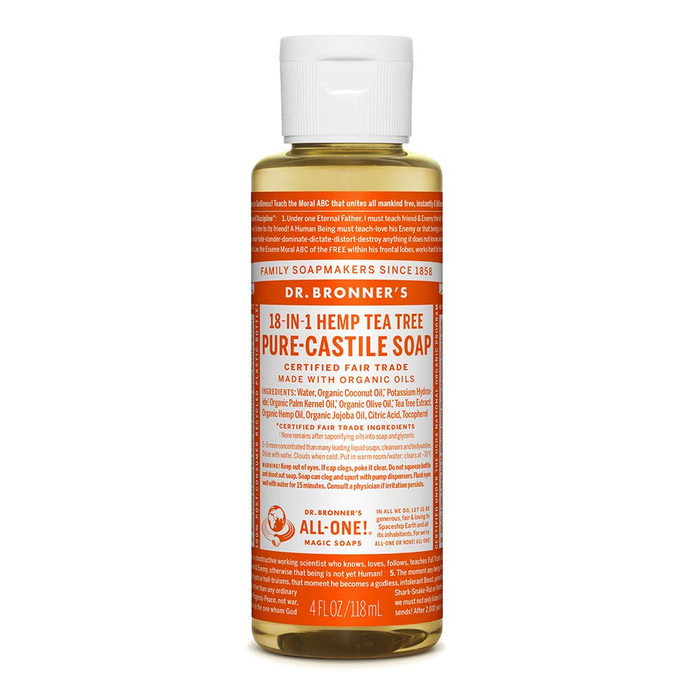 Dr. Bronner's Pure-Castile Liquid Soap for Acne-Prone Skin, Dandruff, Laundry, Pets and Dishes, Concentrated, Vegan, Non-GMO - Tea Tree, 4 ounce