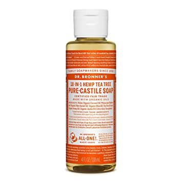 Amazon Com Dr Bronner S Pure Castile Liquid Soap Tea Tree 4 Ounce Made With Organic Oils 18 In 1 Uses Acne Prone Skin Dandruff Laundry Pets And Dishes Concentrated Vegan Non Gmo Beauty