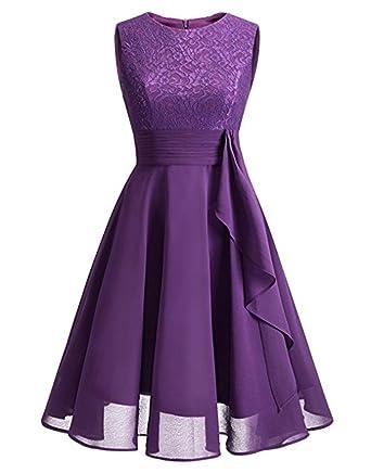 Cytree Damen Ärmellos Spitzekleid A-line Festlich Chiffon Party BallKleid  Brautjungfernkleid Abendkleider  Amazon.de  Bekleidung 16fddc32df