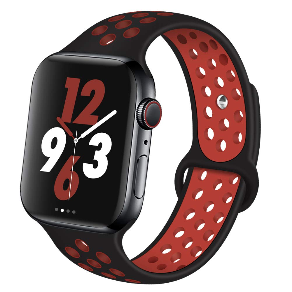 OriBear Compatible for Apple Watch Band 40mm 38mm, Breathable Sporty for iWatch Bands Series 4/3/2/1, Watch Nike+, Various Styles and Colors for Woman and Man(S/M,Black-Red)