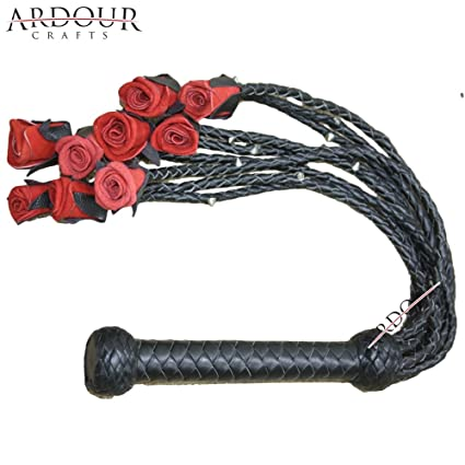 Real Cow Hide Leather Flogger Whip 25 Tails Steel Studded Heavy Duty