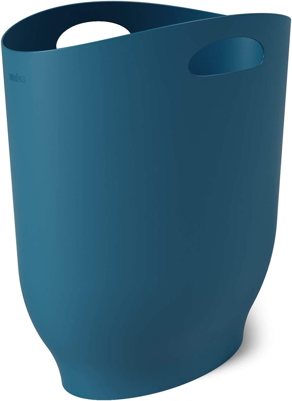 Umbra 1012181-1163 , Lagoon Blue Harlo Sleek & Stylish Bathroom Trash, Small Garbage Can Wastebasket for Narrow Spaces at Home or Office, 2.4 Gallon Capacity,7 x 13 x 12