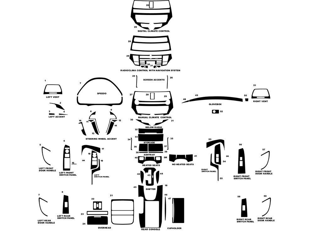 Rdash Dash Kit Decal Trim for Honda Accord 2008-2012 - Wood Grain (Burlwood Honey)