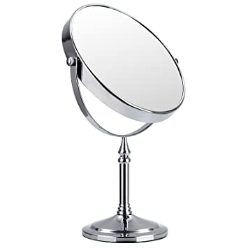 Songmics 10x Bathroom Makeup Mirror Shaving Mirror Free Standing Tabletop  Mirror For Compact Beauty Round 360