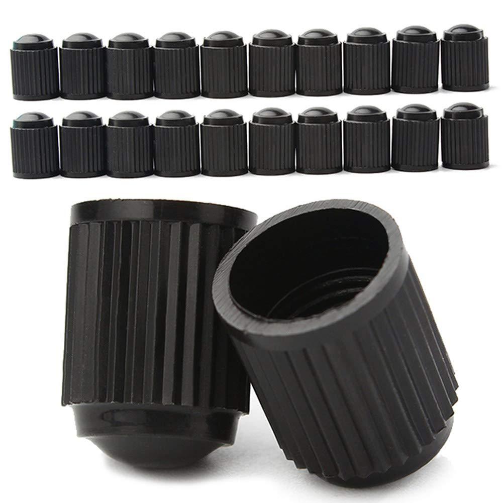 Auxsoul Plastic Tyre Valve Dust Caps - Tire Cap Valve Stem Caps Heavy-Duty Screw-On for Cars, SUVs, Bike and Bicycle, Trucks, Motorcycles, Black (40 Pack)