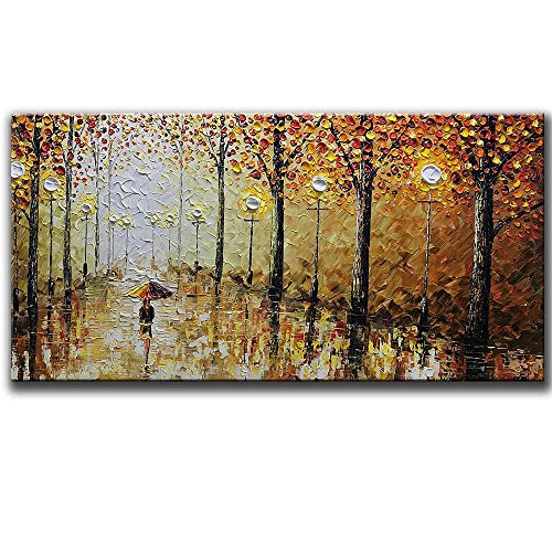 (Asdam Art-100% Hand Painted Orange Romantic Rainy Street Oil Painting on Canvas Modern Abstract Landscape Wall Art Artwork Paintings for Living Room Bedroom Dining Room Office)