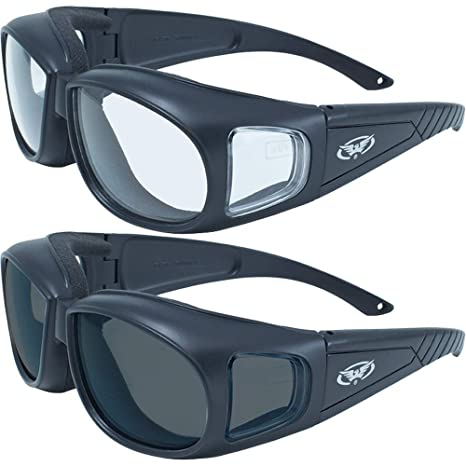 37de104d45d 2 Motorcycle Safety Sunglasses Fits Over MOST Rx Glasses Smoke and Clear  Day & Night Usage