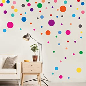 Cloudk Wall Stickers for Bedroom Living Room, Polka Dot Wall Decals for Kids Boys and Girls (Multicolor,130 Circles)