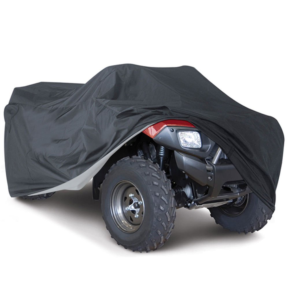 Universal All Weather ATV Cover, Waterproof Dust Sun Wind Proof Outdoor ATV UV Cover, Durable Quad Storage Protection for Honda Polaris Yamaha Suzuki (Black, XL)