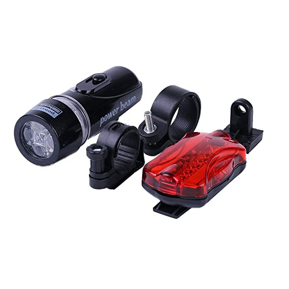 Waterproof 5 LED Lamp MTB Bike Bicycle Front Head Light+Rear Safety Flashlight