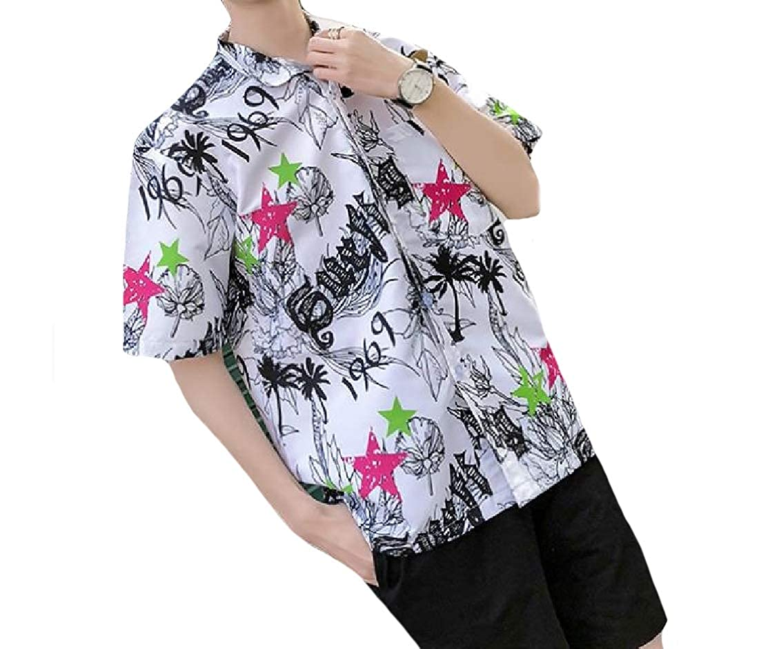CuteRose Mens Single Breasted Short Sleeve Plus-Size Regular Beach Shirts