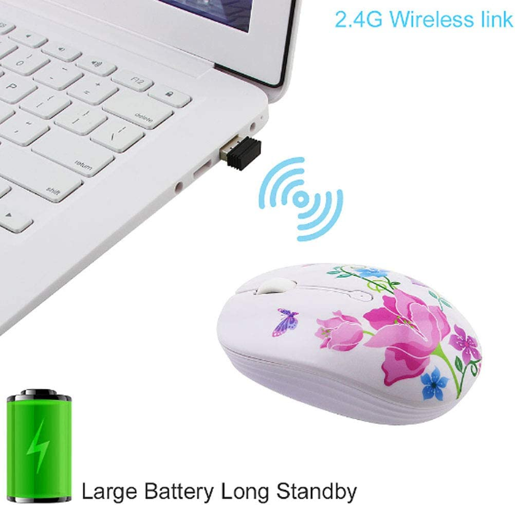 2.4G Optical Wireless Travel Mouse 1200 DPI Compatible with Laptop,for PC Laptop Kids Girl Gift,C Artificial Flower Wireless Mouse Cute Silent Computer Mice with USB Receiver