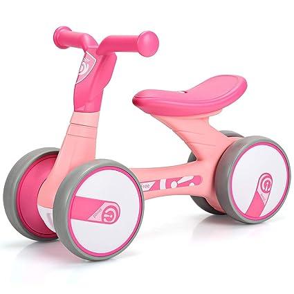 COSTWAY Bicicleta Sin Pedal para Niño con 4 Ruedas Bicicleta de Equilibrio para 1-3
