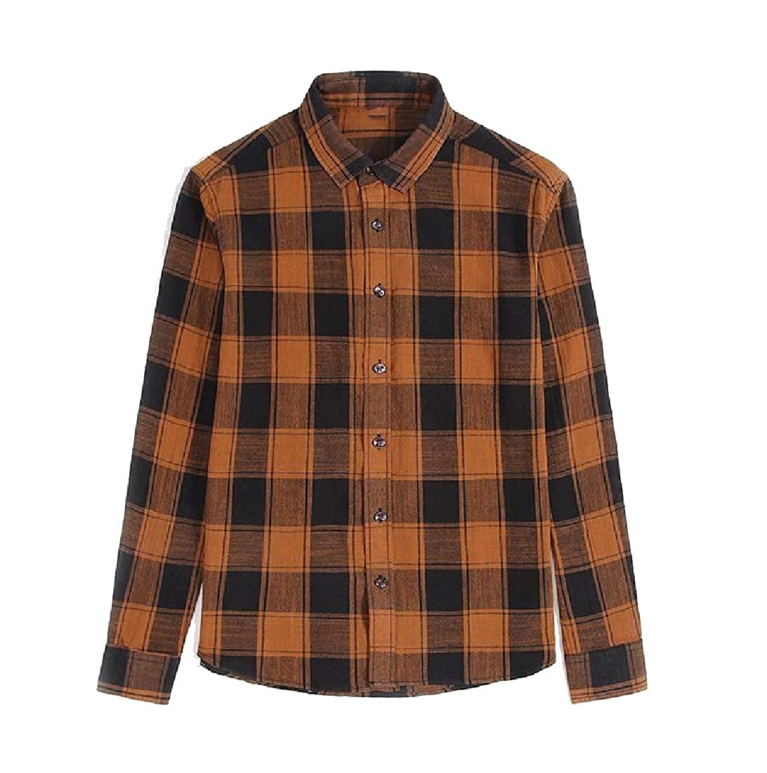 Zimaes-Men Single Breasted Fresh Classic Plaid Classic-Fit Flannel Shirt