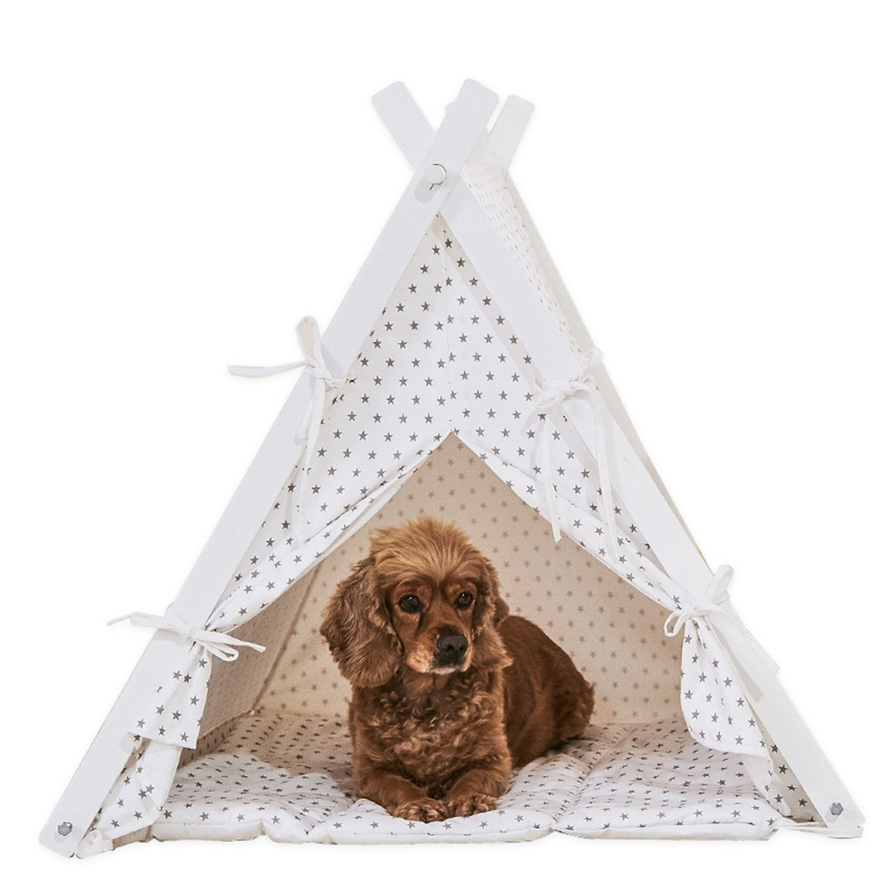 little dove Dog Teepee Large Pet Tent Furniture Cat and Dog Bed With Pad 35 Inch Star Dot Cover and Pad
