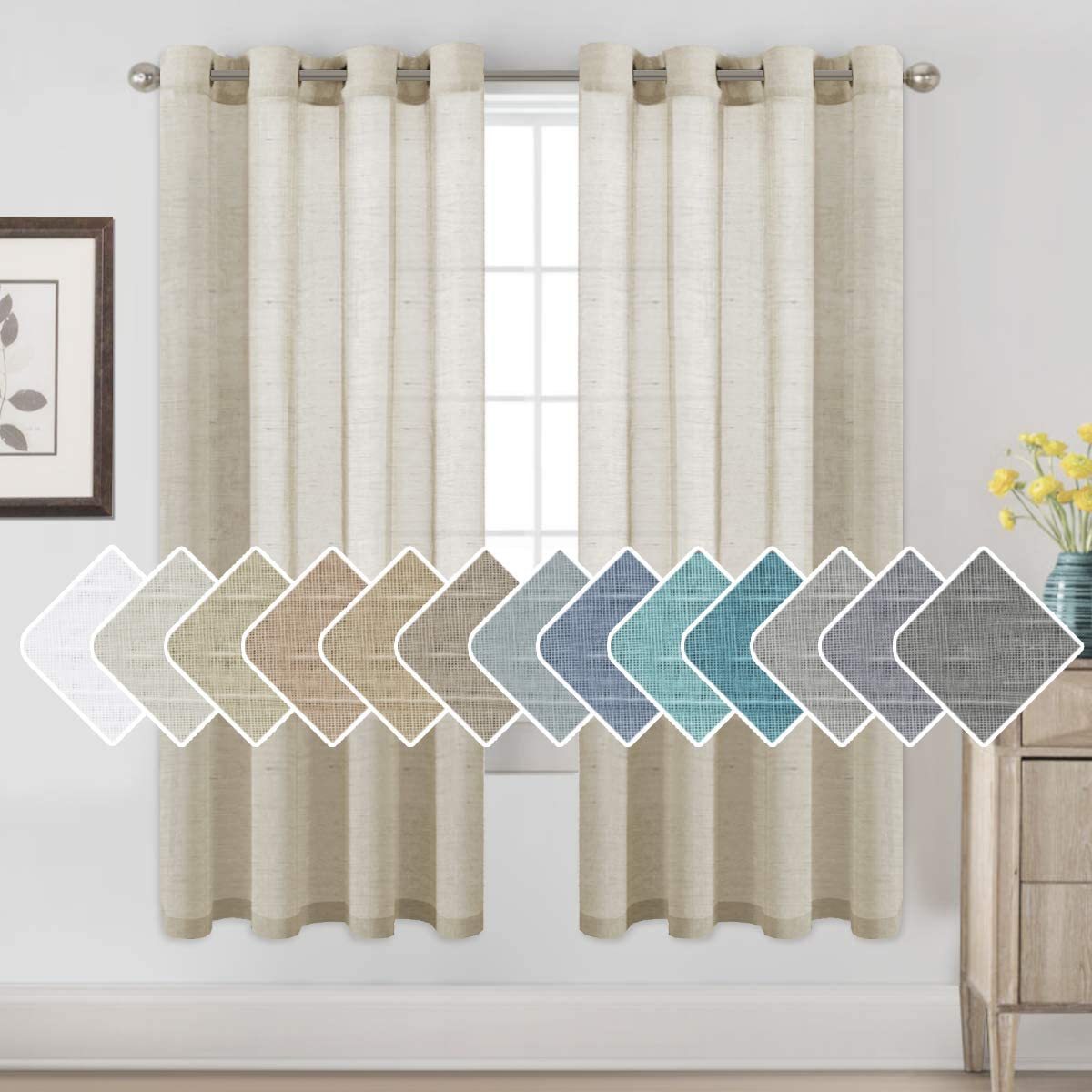 H.VERSAILTEX 72 inch Linen Curtains for Living Room/Home Decorative Rich Natural Linen Sheer Curtains for Bedroom/Laundry - 2 Panels - Elegant Nickel Grommet Top - 52x72 - Inch, Natural