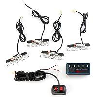 Auto koplampen - 16W 4-in-1 16 LED Stroboscooplichten Bumper Grille Waarschuwingslampje met Controller Modus Schakelaar…
