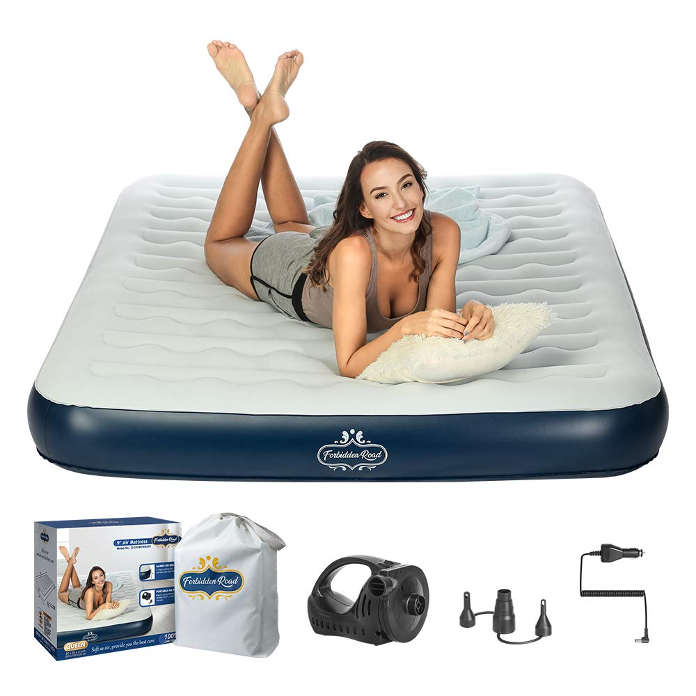 Forbidden Road Air Mattress,Twin Queen Size Portable Inflatable Single Airbed External Electric Pump Durable Firm Blow Up Raised Bed Storage Bag Easy Setup Guest, Rest, Outdoors