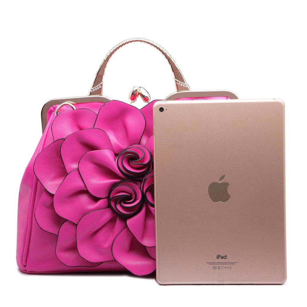 Ruiatoo Women\'s Handbags 3D Flower Satchel Bags Formal Party Wedding Tote Purses with Detachable Shoulder Strap Grey