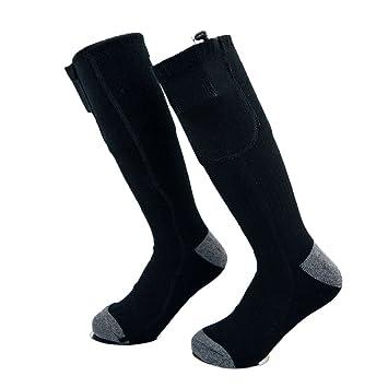 Beautyrain 1 par Calcetín eléctrico de la calefacción, con batería recargable, para pies crónicamente fríos medianos para el esquí, senderismo, ...