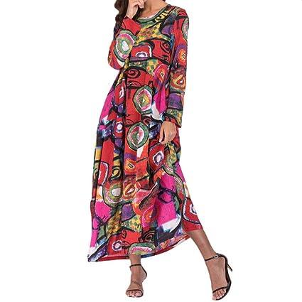 Saihui - Vestido de Algodón para Mujer, Estilo Vintage, con Mangas largas, Cuello