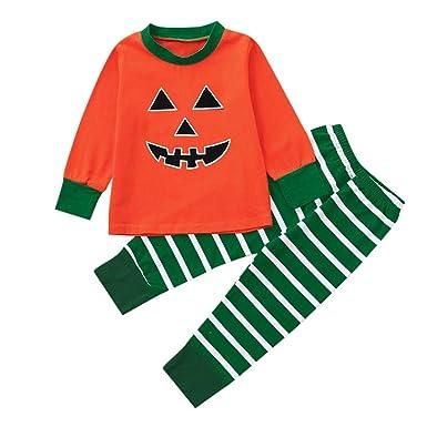 a3f5194baff0 Newborn Infant Baby Boys Girls Pumpkin Print Tops T-Shirt Pajama ...