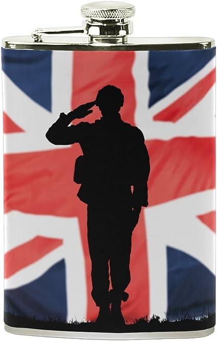 ALAZA británico soldados de la Unión Jack bandera petaca 8 oz ...