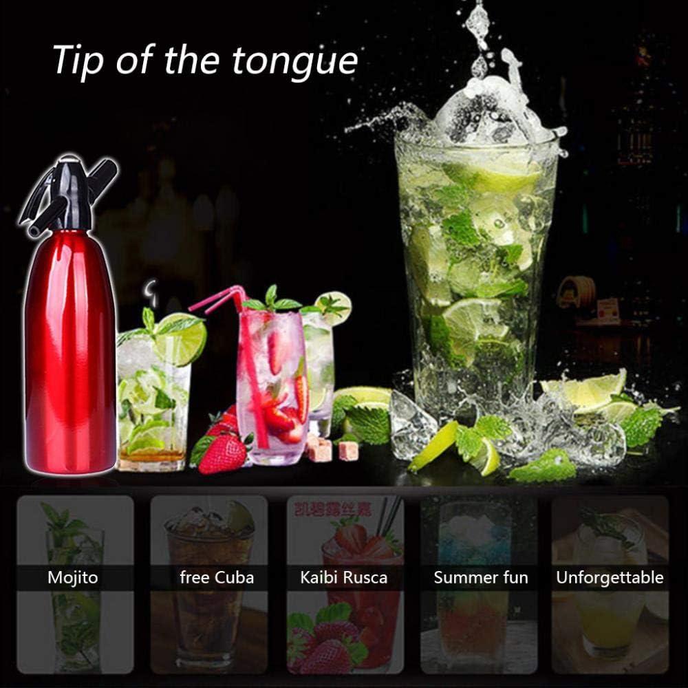 HEHUANG Sifón de soda manual Dispensador de CO2 AGUA Generador de burbujas Bebida fría Cóctel Máquina de refrescos Barra de aluminio DIY Fabricante de refrescos, Negro Sliver