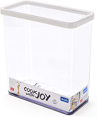 Rotho Loft, caja de almacenamiento rectangular de 3.2 l con tapa y sello, Plástico PP sin BPA, transparente, blanco, 3.2l 20.0 x 10.0 x 21.4 cm: Amazon.es: Hogar